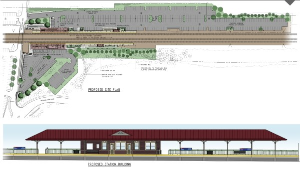 Rendering and site plan of station upgrades