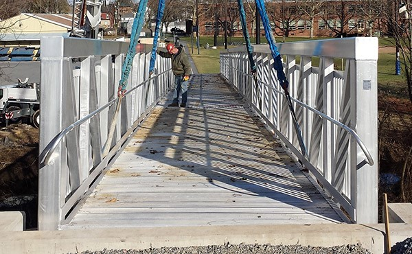 Looking east across the pedestrian bridge, just placed by crane