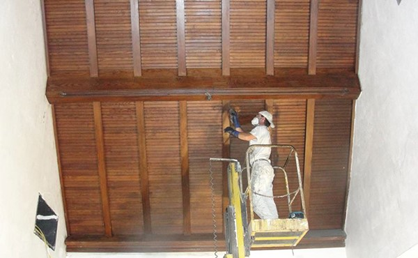 Refinishing the wood ceiling