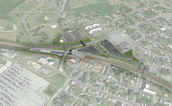 Rendering of new station and parking location