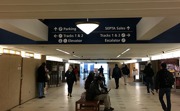 Overhead signage on SEPTA concourse