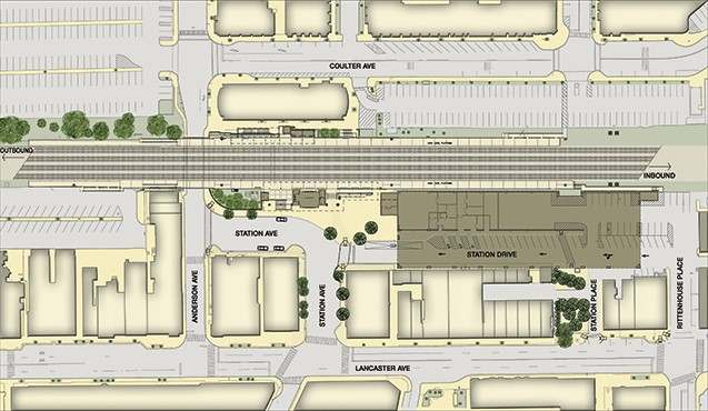 Conceptual site plan for Phase 2, indicating location of parking garage (SEPTA)
