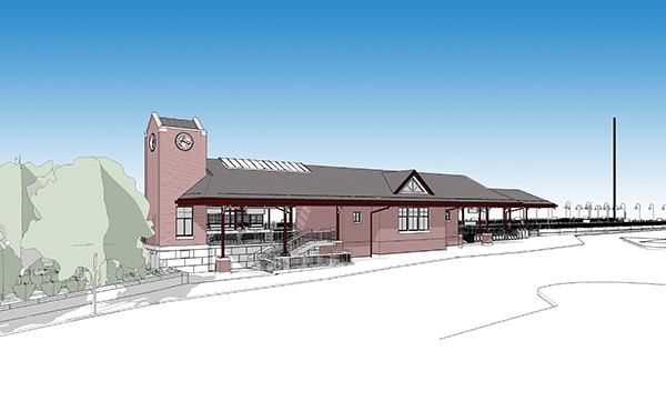 Rendering of new station building (SEPTA)