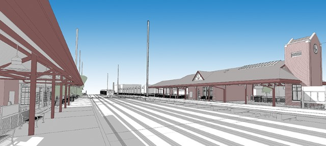 Rendering of new station building viewed from trackside (SEPTA)