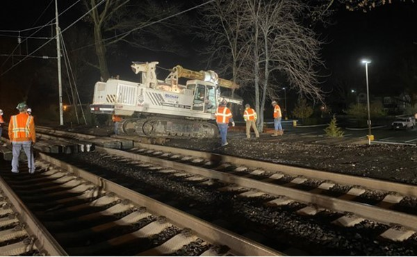 Drilling for foundation piers, westbound side (December 2020)