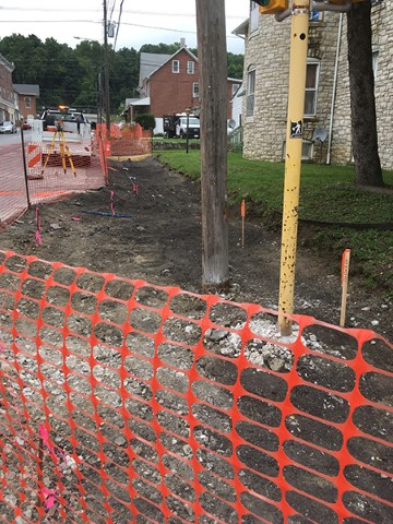 Photo of east sidewalk demolition looking north (July 2017)