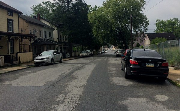 BEFORE: Looking south between Fleetwood St. and Lumber St. (May 2019)