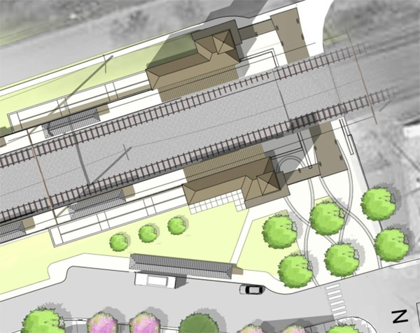 Rendering of station site, aerial view
