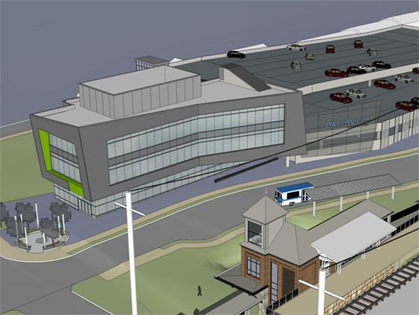 Rendering of parking facility and Fleetwood Street redevelopment, looking SW