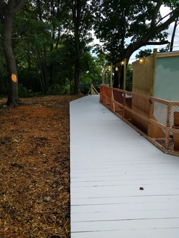 Boardwalk from northeast lot to temporary stairs
