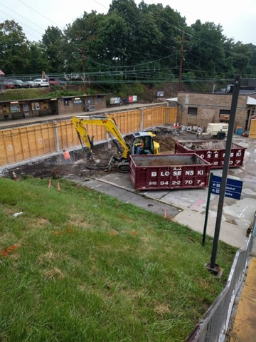 Excavation begins for south stair/elevator tower