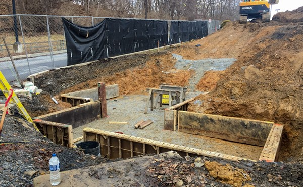 Formwork installation for westbound ramp and wall footer (January 2018)