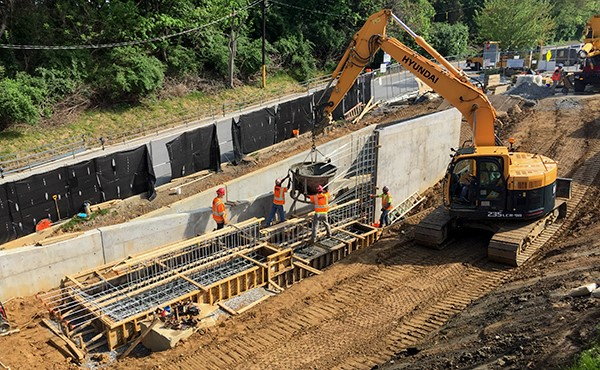 Placing concrete for ramp footer (May 2018)