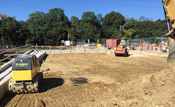 Grading and compacting eastbound parking lot (October 2017)