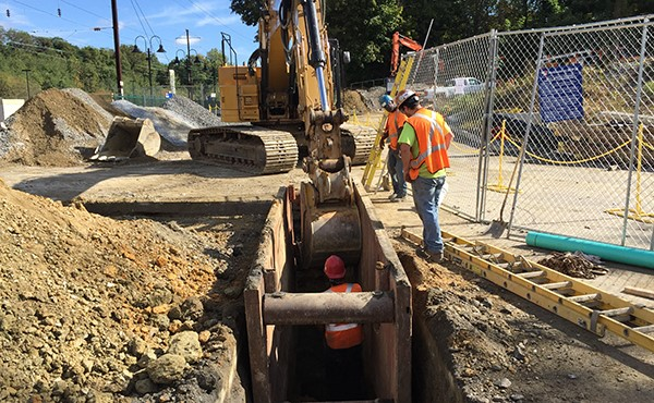 Installing sanitary sewer piping (October 2017)