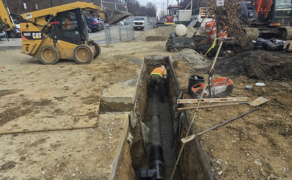 Installing drain pipe on westbound side (December 2018)