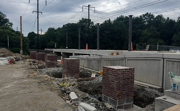 Finished brick masonry work at canopy piers (June 2018)