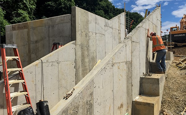 Finished concrete at stair walls (June 2018)