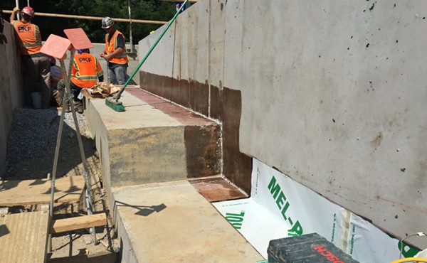 Waterproofing ramp wall and footer (July 2018)