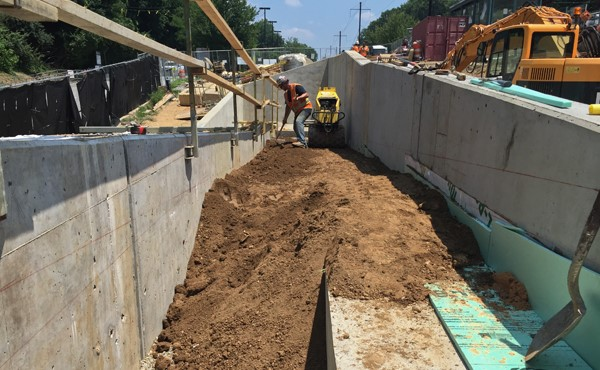 Backfilling between ramp walls (July 2018)