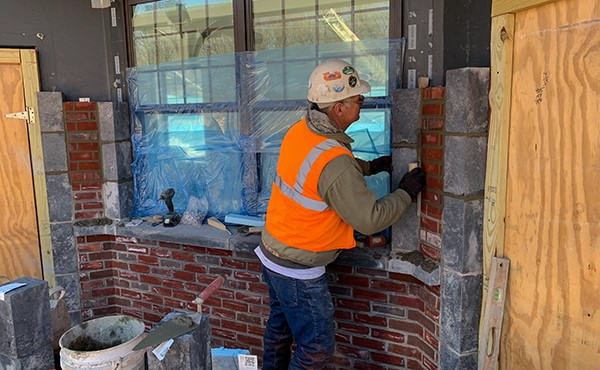 Installing station building brick and calcium silicate stone (April 2019)