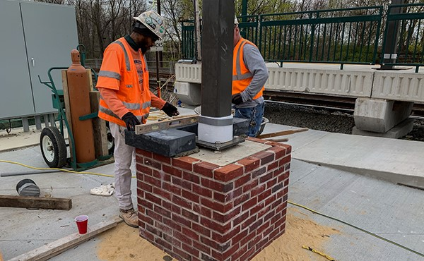 Installing capstone at canopy pier (April 2019)