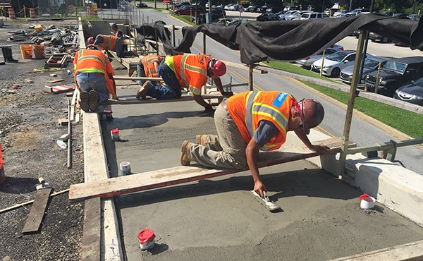 Finishing concrete for eastbound ramp (August 2018)