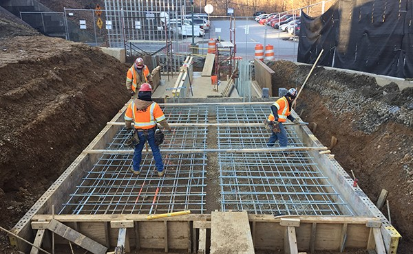 Installing rebar for next section of ramp/wall footer (February 2018)