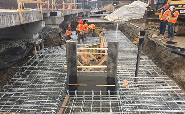 Installing rebar for station building foundation (February 2018)