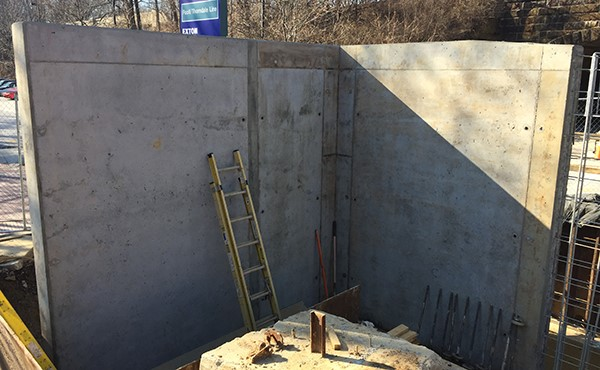 Finished concrete at first segment of ramp wall (February 2018)