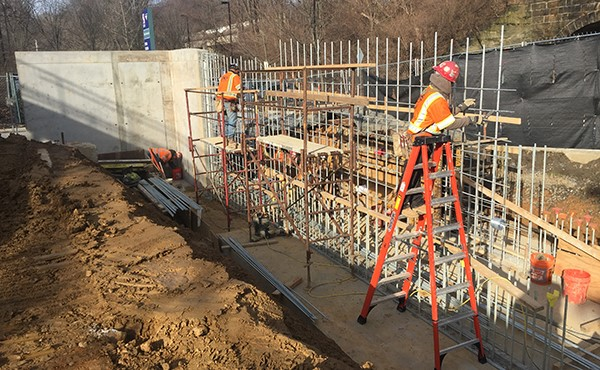 Rebar work continues on next section of westbound wall (February 2018)