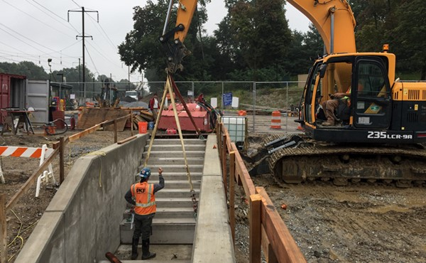 Installing precast concrete stairs to platform level (September 2017)