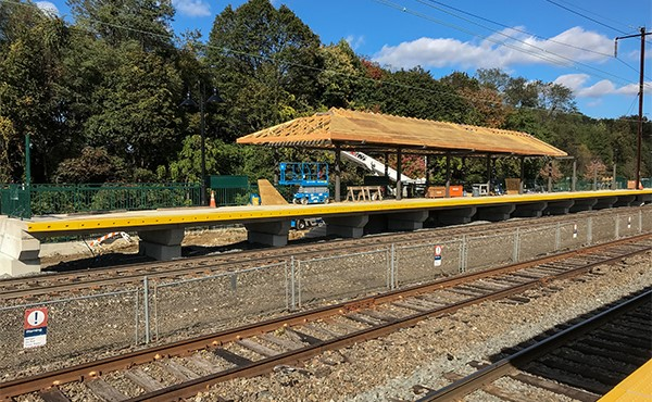 Canopy in progress at west end of westbound platform (October 2019)