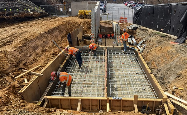Installing rebar for next section of ramp/wall footer (March 2018)