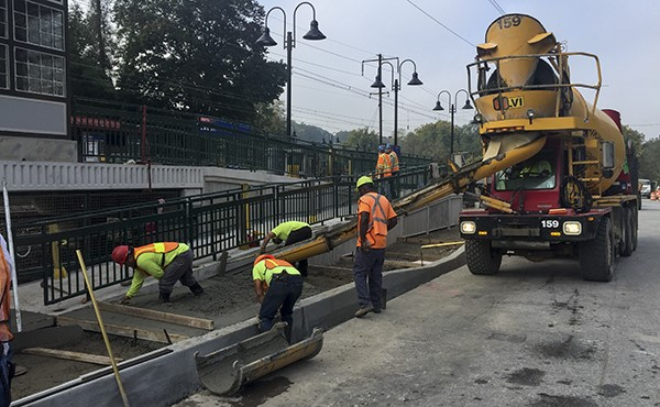 Placing concrete for westbound sidewalk (October 2018)