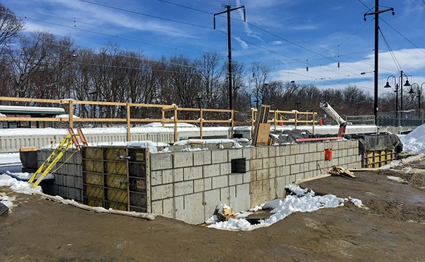 Finished concrete at station building foundation wall (March 2018)