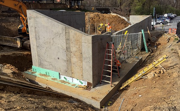 Finished concrete at ramp wall (April 2018)