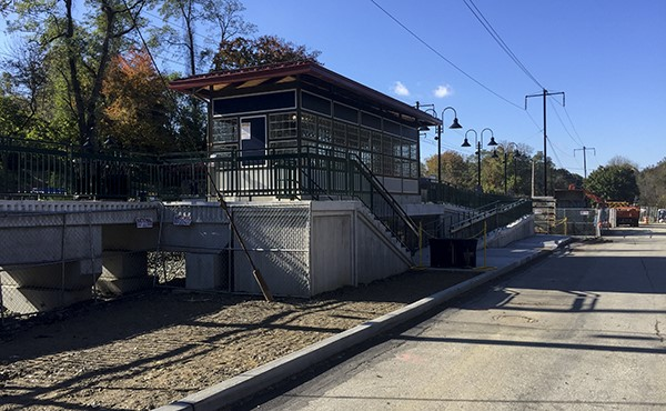 View of westbound shelter from parking area (October 2018)