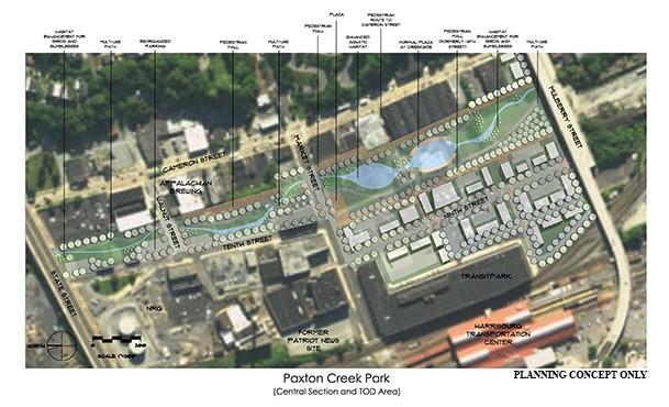 Paxton Creek Park central section concept (February 2018)
