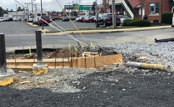 Curb formwork at south entrance (October 2020)