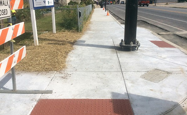 Completed sidewalk, curb, and ramps on Route 30/Lincoln Highway (September 2017)