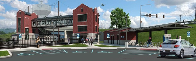 Rendering of new station viewed from main parking lot