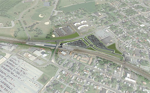 Rendering of new station location and parking