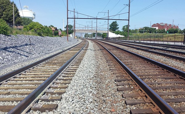 Looking west, completed Norfolk Southern track on left (June 2019)