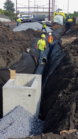 Installing drainage pipe (October 2018)