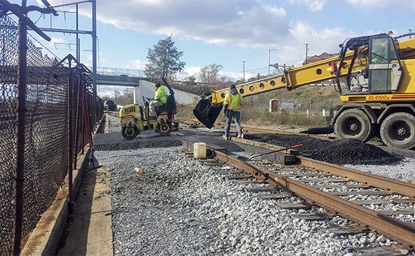 Paving at-grade crossing of Middletown & Hummelstown line (Nov 2019)