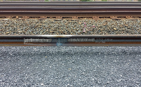 Completed rail joint after welding, grinding, and notation (May 2019)