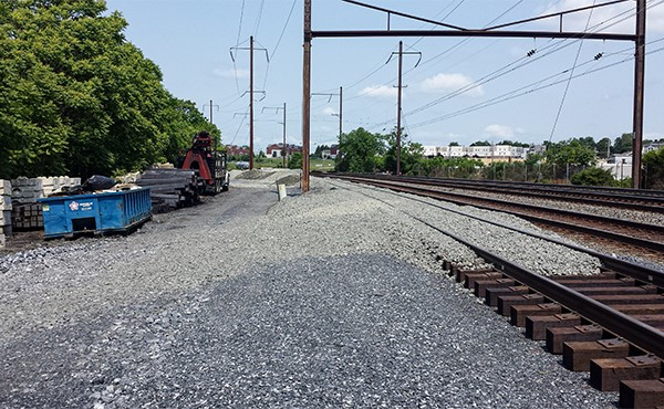Ballast stone spread on finished track (May 2019)