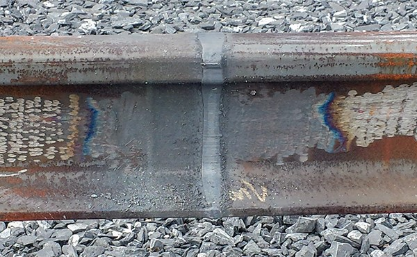 Rail joint weld prior to grinding (May 2019)