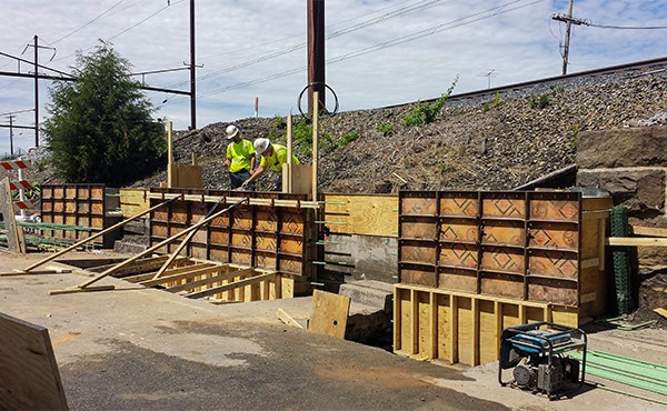 Finishing wall pour for middle section of retaining wall (May 2019)